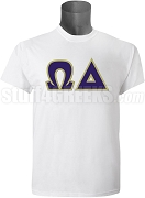Omega Delta Greek Letter Screen Printed T-Shirt, White
