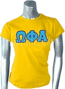 Omega Phi Alpha Screen Printed T-Shirt with Greek Letters, Gold