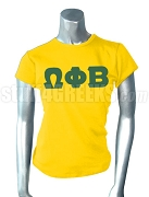 Omega Phi Beta Greek Letter Screen Printed T-Shirt, Gold