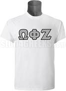 Omega Phi Zeta Greek Letter Screen Printed T-Shirt, White
