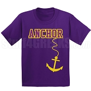 Anchor Screen Printed T-Shirt, Purple/Old Gold