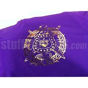Omega Psi Phi Metallic Foil Crest DTG Printed T-Shirt, Purple Shirt with Gold Crest