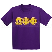 Omega Psi Phi Triple-Layered Letters Screen Printed T-Shirt, Purple