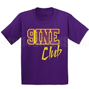 9/Nine Club Screen Printed T-Shirt, Purple/Old Gold