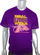 Omega Psi Phi Pink Ribbon Breast Cancer Awareness Screen Printed T-Shirt, Purple