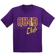 4/Quad Club Screen Printed T-Shirt, Purple/Old Gold