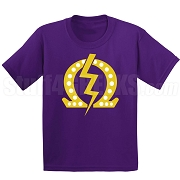 Q Bolt with 20 Pearls Screen Printed T-Shirt, Purple