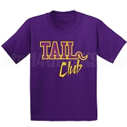 Tail Club Screen Printed T-Shirt, Purple/Old Gold