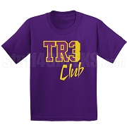 Tre Club Screen Printed T-Shirt, Purple/Old Gold