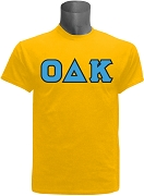 Omicron Delta Kappa Men's Greek Letter Screen Printed T-Shirt, Gold