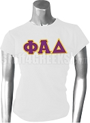 Phi Alpha Delta Ladies Greek Letter Screen Printed T-Shirt, White