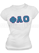 Phi Alpha Omicron Greek Letter Screen Printed T-Shirt, White