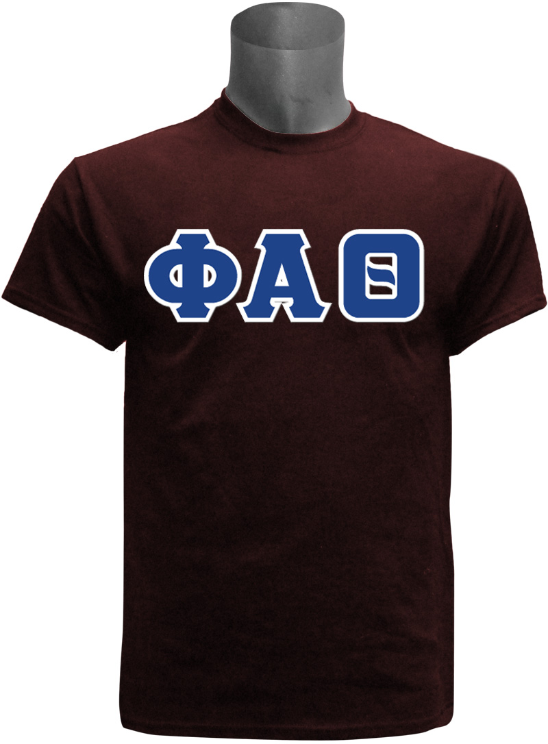 Phi Alpha Theta Mens Greek Letter Screen Printed T Shirt Maroon