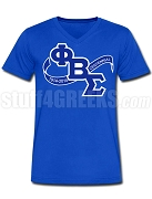 Phi Beta Sigma Centennial Banner Screen Printed V-Neck Shirt, Royal Blue