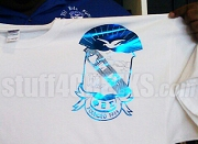 Phi Beta Sigma Metallic Foil Crest T-Shirt, White Shirt with Blue Crest