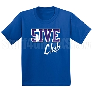 5/Five Club Screen Printed T-Shirt, Royal/White