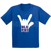 Blu Phi Hand Screen Printed T-Shirt, Royal