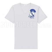 Sigma Shield V-Neck Screen Printed T-Shirt, White