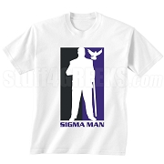 Sigma Man Silhouette Screen Printed T-Shirt, White