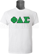 Phi Delta Sigma Greek Letter Screen Printed T-Shirt, White