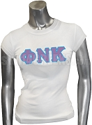 Phi Nu Kappa Screen Printed T-Shirt with Greek Letters, White