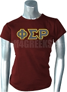 Phi Sigma Rho Greek Letter Screen Printed T-Shirt, Red