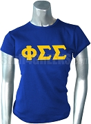 Phi Sigma Sigma Screen Printed T-Shirt with Greek Letters, Royal Blue