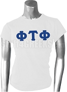 Phi Tau Phi Ladies Greek Letter Screen Printed T-Shirt, White