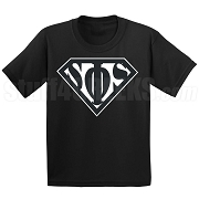 Swing Phi Swing Screen Printed T-Shirt with Greek Letters Inside Superman Shield, Black