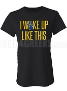 I Woke Up Like This SGR Fitted Screen Printed T-Shirt, Black