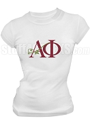 Alpha Phi Ivy Logo Screen Printed T-Shirt, White