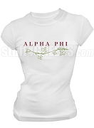 Alpha Phi With Vine Screen Printed T-Shirt, White