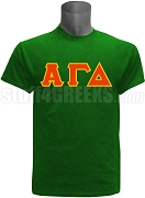 Alpha Gamma Delta Greek Letter Screen Printed T-Shirt, Green