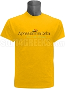 Alpha Gamma Delta Live With Purpose Screen Printed T-Shirt, Gold