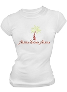 Alpha Sigma Alpha Palm Tree Screen Printed T-Shirt, White