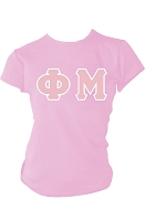 Phi Mu Greek Letter Screen Printed T-Shirt, Pink