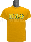 Pi Alpha Phi Greek Letter Screen Printed T-Shirt, Gold