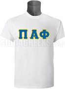 Pi Alpha Phi Greek Letter Screen Printed T-Shirt, White