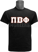 Pi Beta Phi Greek Letter Screen Printed T-Shirt, Black