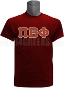 Pi Beta Phi Greek Letter Screen Printed T-Shirt, Crimson