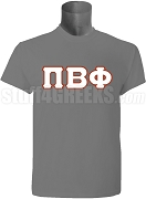 Pi Beta Phi Greek Letter Screen Printed T-Shirt, Grey