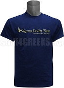 Sigma Delta Tau Logo With Tag Line Screen Printed T-Shirt, Navy