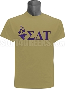 Sigma Delta Tau Torch Wth Letters Screen Printed T-Shirt, Tan