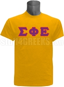 Sigma Phi Epsilon Greek Letter Screen Printed T-Shirt,Gold