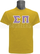 Sigma Pi Greek Letter Screen Printed T-Shirt, Gold