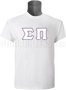 Sigma Pi Greek Letter T-Shirt, White Screen Printed