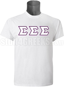 Tri-Sigma Greek Letter T-Shirt, White Screen Printed