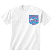 Theta Nu Xi Chevron Faux Pocket Screen Printed T-shirt