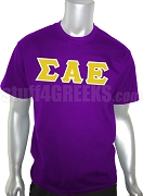 Sigma Alpha Epsilon Greek Letter Screen Printed T-Shirt, Purple
