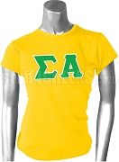 Sigma Alpha Greek Letter Screen Printed T-Shirt, Gold